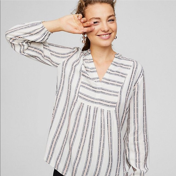 9195b94f75 LOFT Tops | Split Neck Stripe Bib Blouse | Poshmark
